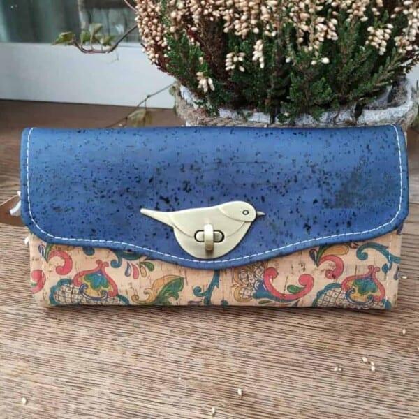 Kurk portemonnee blauw met vogelsluiting