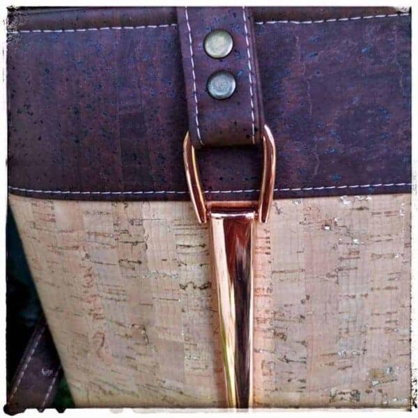 shopper bruin kurk met beige detail