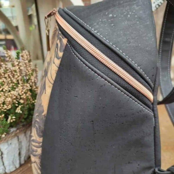 Rugtas zwart kurk, een plezier om te dragen, zo licht! zijkant