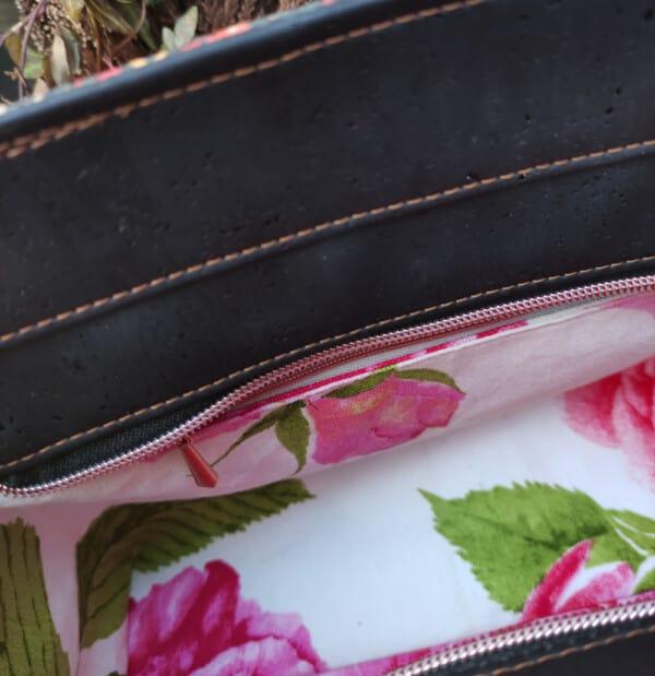 Handtas kurkleer, prachtig en uniek en maar 1 beschikbaar! binnenkant