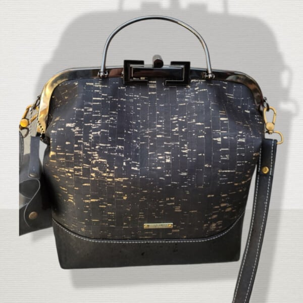 Beugel tas zwart met goud
